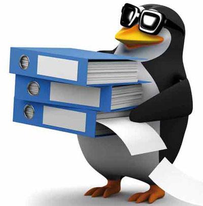 Penguin holding files
