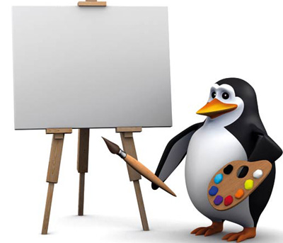 Penguin to start a painting