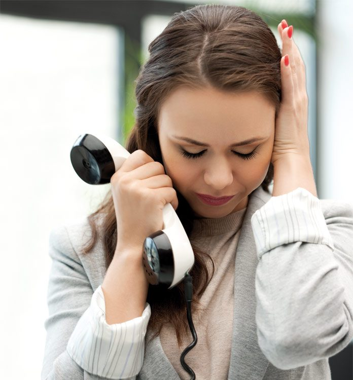 Woman frustrated with a call