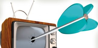 TV being hit by an arrow