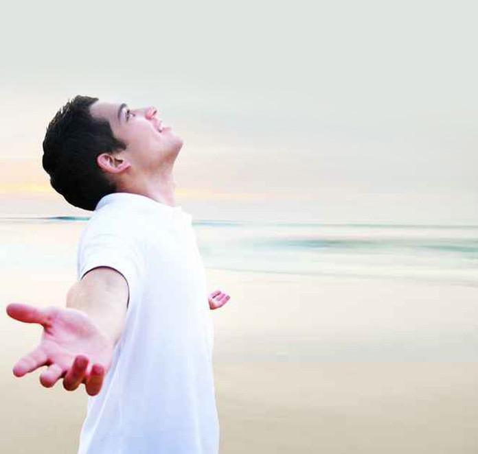 Man happy near sea-shore