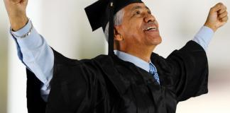 Old man passing out of graduation