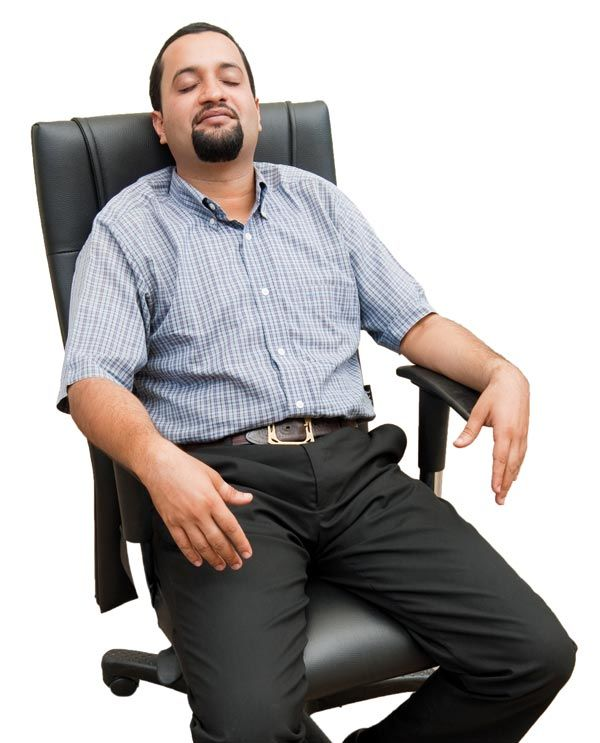 Man resting at workplace