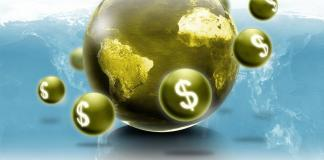 Money rotating the globe