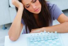 Woman with chess board