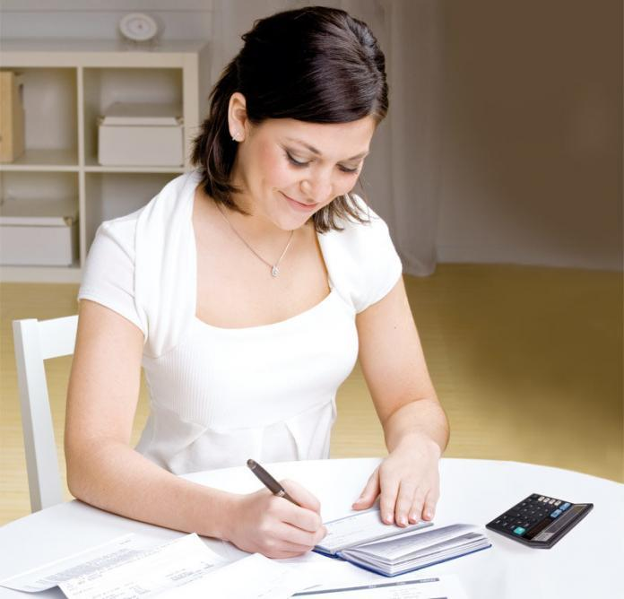 Woman working with banking documents