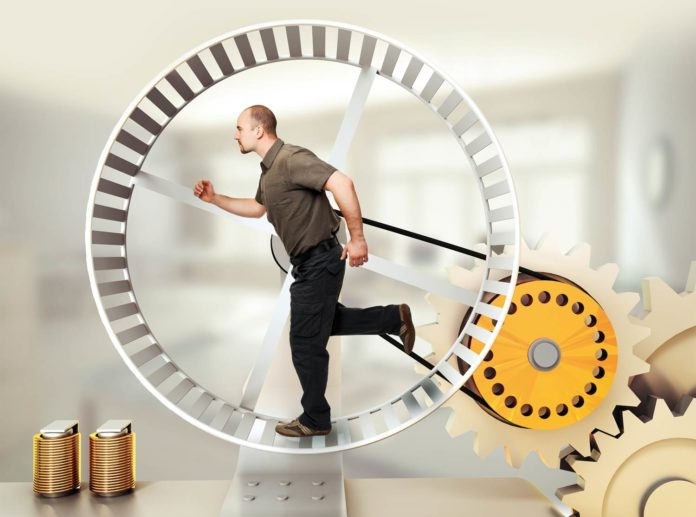 Man running inside the clock / concept of being stuck in a rut