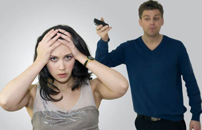 Woman getting frustrated with her husband
