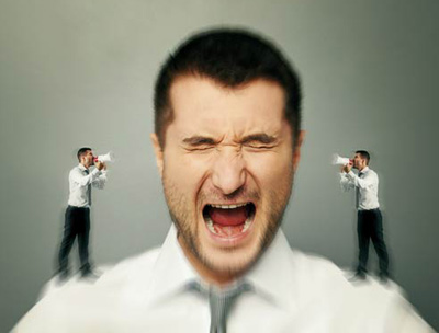 Man frustrated with his inner voice