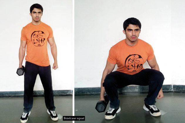 5 exercises for a strong core | Briefcase squat