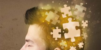 Man with puzzle going in his mind
