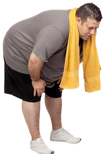 Man with excess weight tired of exercising