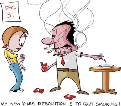 Cartoon portrait of a man smoking many cigrattes at one time