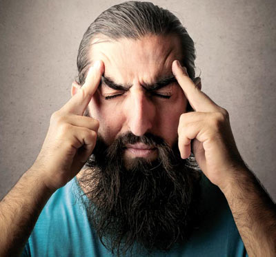 Man concentrating his mind