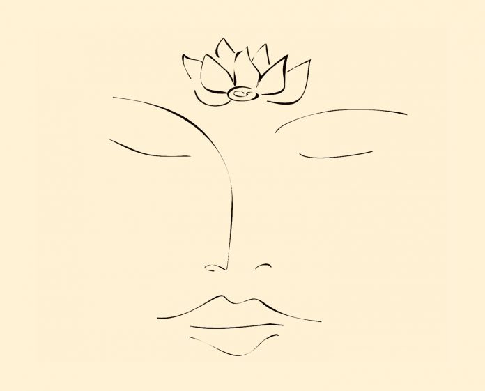 face sketch with lotus on third eye
