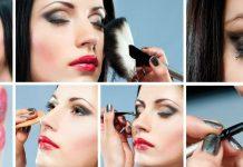 various steps of makeup application