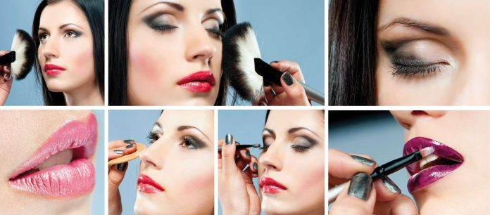 various steps of makeup application