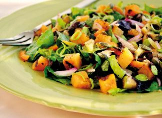 Grilled sweet potato salad with ginger honey dressing