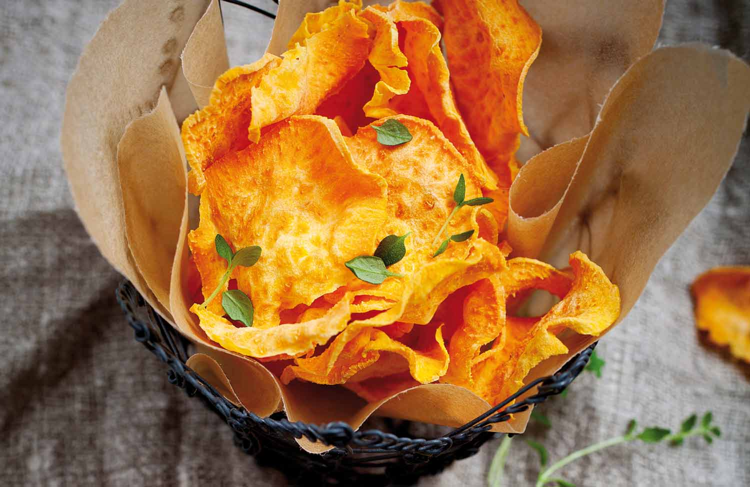 Healthy sweet potato chips with thyme and chilli salt ...