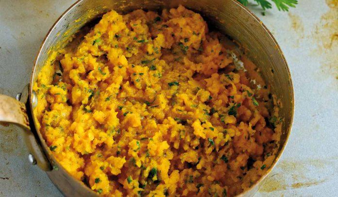 mashes sweet potatoes