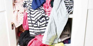 Unorganised clothes closet