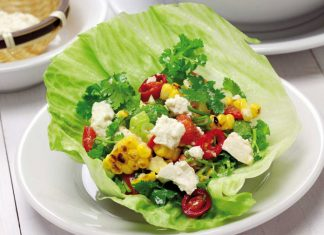 lettuce with corn and cheese, lettuce wrap