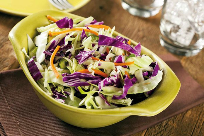 Asian salad with miso sesame dressing