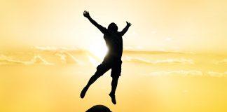 Man flying high