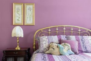 Bedroom walls painted violet colour