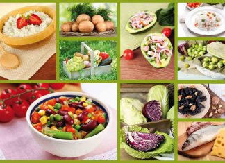 collage of food, salad, vegetables, raw