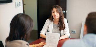 Girl giving job interview