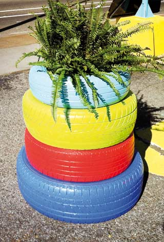 Plants in the rubber tyres