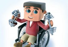 3d illustration of man on wheelchair with dumbbells