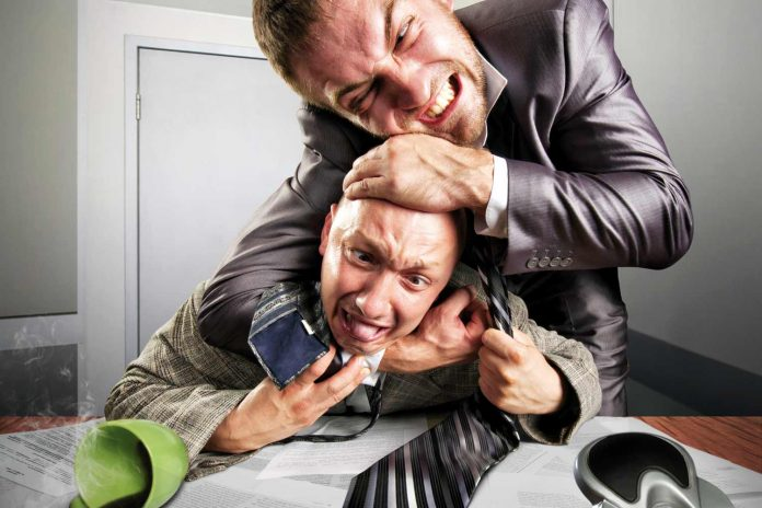 man strangling his colleague in office