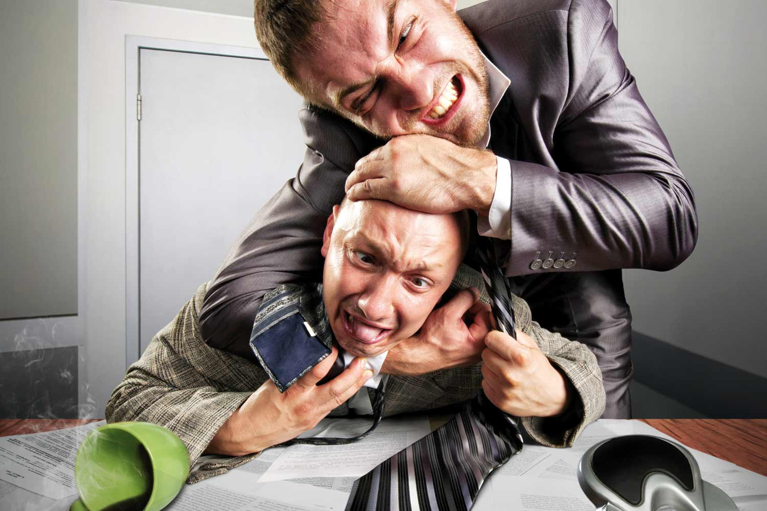 types of coworkers you wish you could strangle complete wellbeing man strangling his colleague in office