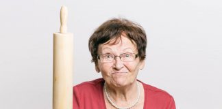 Old lady with rolling pin / concept of controlling parents