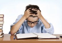 Boy studing in stress