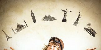 Kid showing seven wonders of the world