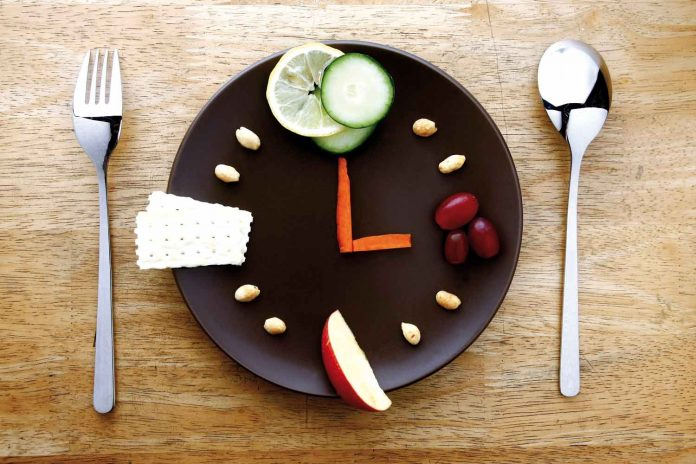 plate with fork spoon, clock