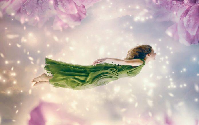 Woman floating in air, dreams