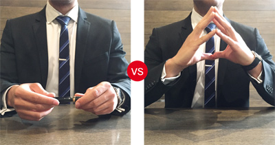 Fidgeting with hands, pen or object / Steeple hand gesture