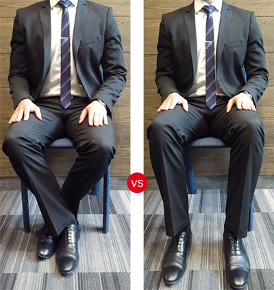 Crossed legs/ ankles [men] / Feet hip-width apart on the ground [men]