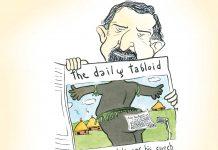 Hilarious cartoon of man reading newspaper