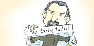 Hilarious cartoon of man reading newspaper