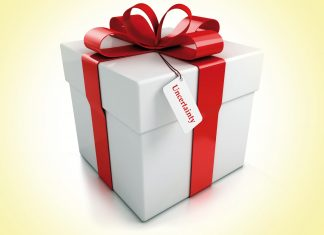 Gift box with uncertainty tag