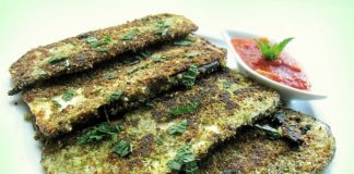 Mint almond flax encrusted pan-fried brinjal slices