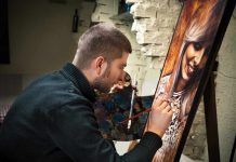 artist painting a portrait of woman / art