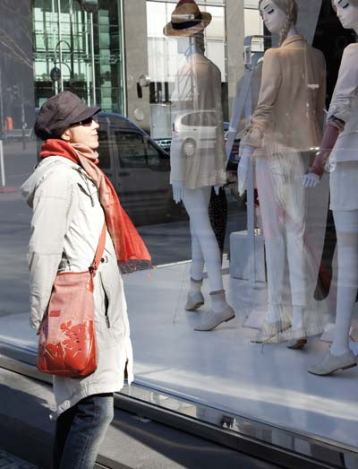 Woman enjoying window shopping