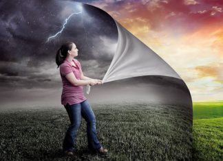 Portrait of woman removing rainy climate to sunshine