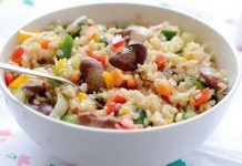 Brown rice with vegetables and beans